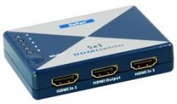 Belfan EA-HS51, 5 x HDMI mini-Switch met IR Afstandsbediening, EU 230V - 15968